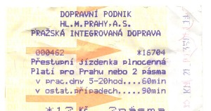 Prague Metro Ticket 2001