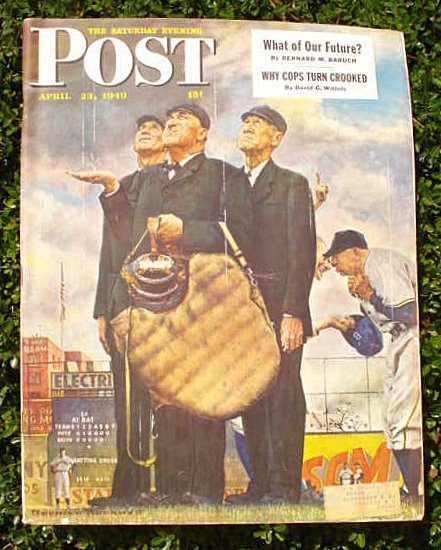 THE SATURDAY EVENING POST - April 23, 1949. Norman Rockwell Baseball Cover.