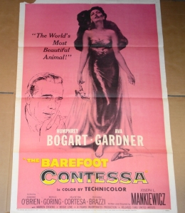 "Original Movie Poster for ""Barefoot Contessa"" Staring Ava Gardner and Humphrey Bogart"