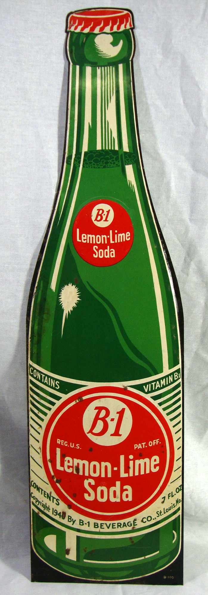 Rare Original 1940 Vitamin B 1 Lemon Lime Soda Sign