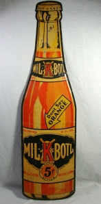 Large Rare Original MIL-K-Boil Orange Soda Bottle Shaped Metal Advertising Sign 2