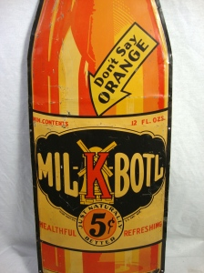 Large Rare Original MIL-K-Boil Orange Soda Bottle Shaped Metal Advertising Sign 4