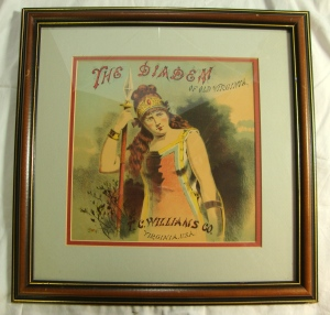 The Diadem of Old Virginia, TC Williams Tobacco Co. Vintage Cigar Box Label Art