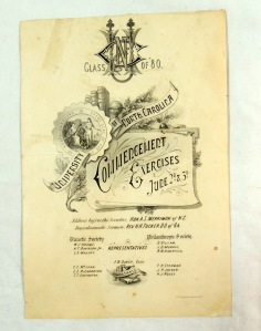 Original UNC University of North Carolina 1880 Commencement Program  2