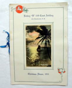 Vintage 1931 Battery 'B' 55th Coast Artillery Christmas in Hawaii Military Menu 6