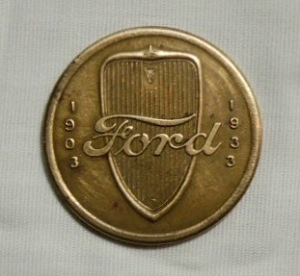 1903-1933 Ford Car Automobile Grill Token Metal Coin V8 30 Years Of Progress 2