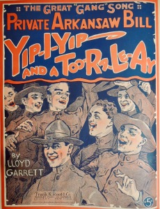 Greta gang song - Private Arkansaw Bill - yip yip and a too ra le ay sheet music illustration