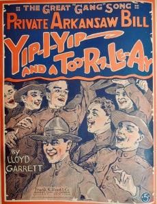 Greta gang song - Private Arkansaw Bill - yip yip and a too ra le ay sheet music illustration