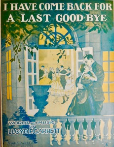 'I have come back for a last goodbye' sheet music illustrations