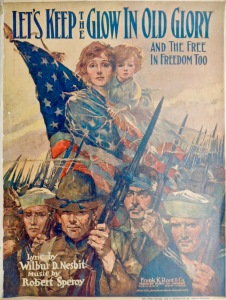 Let's Keep the Glow in Old Glory Sheet Music Illustration