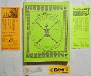 Grateful  Dead Base III by John W. Scott; Mike Dolgushkin; Stu Nixon 1989 Dead Base, HANOVER, NH; the complete guide to Grateful Dead song lists; First Edition hand-numbered # 97; 408 pp;  Also includes rare original flyers, cards, and order form for the original Dead Base with cool Grateful Dead art; VG+